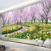 Mingld カスタマイズされたリビングルームテレビの背景の壁紙3Dフレスコ牧歌的風景ソファーベッドルームの壁紙拡張スペース桜パス-250X175Cm