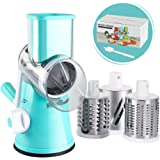 Cambom Manual Rotary Cheese Grater - Round Mandoline Slicer with Strong Suction Base, Vegetable Slicer Nuts Grinder Cheese Sh