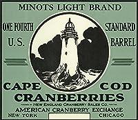 ケープコッド、マサチューセッツ州–MINOTSライトブランドクランベリーラベル( 16x 24Collectible Gicleeギャラリー、壁用旅行ポスター)