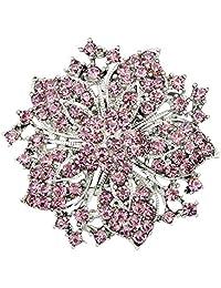 Weixinbuy Women's Crystal Bouquet Rhinestone Flower Brooch Pins Wedding Bridal