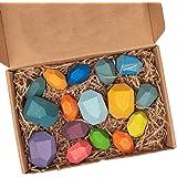 木製岩石、木製ブラネスブロックセットバランシングストーン、軽量の天然木製岩ブロック、子供向けパズルスタッキングゲーム用