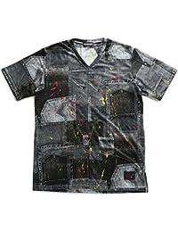 【Z18UH15】 ゼファレン Zephyren Tシャツ 半袖 かっこいい Vネック リメイクデニム ペイント 切替 総柄 アメカジ 大きいサイズ 正規品 デニム黒