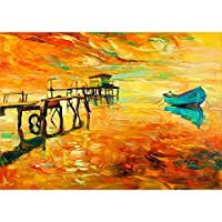 ArtzFolio Boat & Jetty Unframed Premium Canvas Painting 33.9 x 24inch