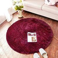 QIDI MUMAラグカーペットリビングルームパッドコーヒーテーブルマットベッドサイドラウンド (Color : Red wine, Size : D-1.6m)