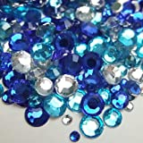 高品質アクリルストーン ラインストーン MIXパック 約1000粒入り ブルー系