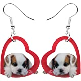 NEWEI Acrylic Valentine's Day Puppy Dog Earrings Dangle Drop Sweet Pet Jewelry For Women Girl Charm Gift
