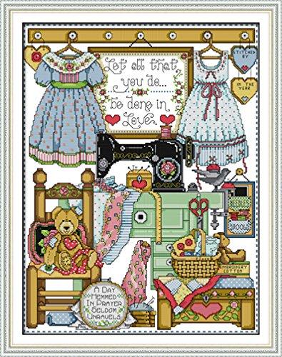 手作り刺繍キット 中程度の格子 DIY 正確な図柄印刷クロスステッチ 40×73 LovetheFamily 刺しゅうキット 家庭刺繍装飾品 フレームがない cm 11CT チェリーや花 - ( インチ当たり11個の小さな格子) クロスステッチキット