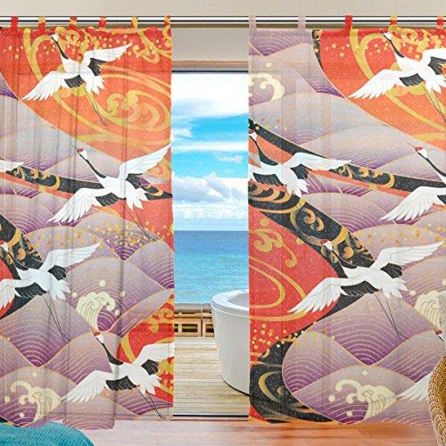 [일식 이자카야 인테리어 소품] USAKI(유《사키》)고품질 멋쟁이 박수 부드럽 쉐이드 커튼 얇은 명주 도어 커튼,예쁘 일본 무늬 일본풍 꽃무늬 다다미방,장식창 방 현관 bedroom 객실용 차광 커튼 (폭아쥬반 VANT)Re:140cm x장아쥬반 VANT)Re:210cmx2매 셋트)-
