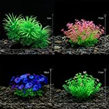 Aquarium Decoration Combination-Artificial Fish Tank Plant Vivid Underwater Plastic Waterweed, Beautiful and Easy to Care for, Non-Toxic to All Fish and Pets(4PCS 12x10 cm AS)