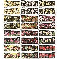 12パック/たくさん水デカールネイルアートネイルステッカースライダーフルカバーペインティングフラワークリスマスローズローズアスターイエローUP61-72