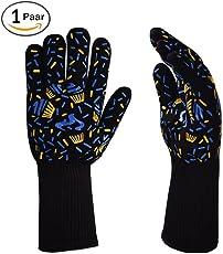 バーベキューグローブ 耐熱グローブ BBQ専用手袋 最高防耐熱温度500℃(932 °F)耐熱防水 滑り止め 着脱簡単 5本指グローブ 調理道具 耐熱グローブbbq 2個セット
