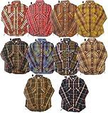 HOUSTON ヒューストン チェックシャツ メンズ チェックシャツ ネルシャツ ワークシャツ 長袖シャツ 3ブラウン×オレンジブラウン系|XL