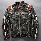 本革レザージャケット メンズレザーコート冬用 革ジャケット 本皮 牛革 防風防寒 バイク用 ライダースジャケット 個性的なデザイン  (M)