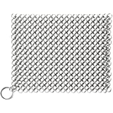 """Cast Iron Cleaner Chainmail Scrubber 8""""x8"""" Stainless Steel 316L for Kitchen Cookware Cast Iron Pan Pre-Seasoned Pan Dutch Ovens Waffle Iron Pans Scraper Cast Iron Grill Scraper Skillet Scraper"""
