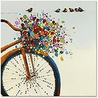 Chadow – Still Life花柄カラフルな花と鳥on自転車100 %手描き油彩画with Stretchedフレーム壁アート24 x 24インチ