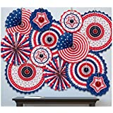 jollylife 7月4日 愛国的装飾 - 赤 白 青 ハンギングペーパーファン パーティー装飾用品