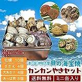 美し国伊勢志摩貝の海宝焼 鳥羽産牡蠣10個 さざえ4個 大あさり4個 あっぱ貝8個 (牡蠣ナイフ、片手用軍手付)カンカン焼き ミニ缶入