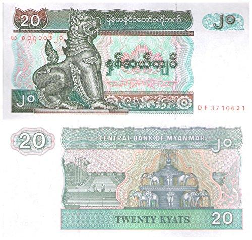 20 Kyatsグッズ紙幣/ミャンマーは、日付なし、約199...
