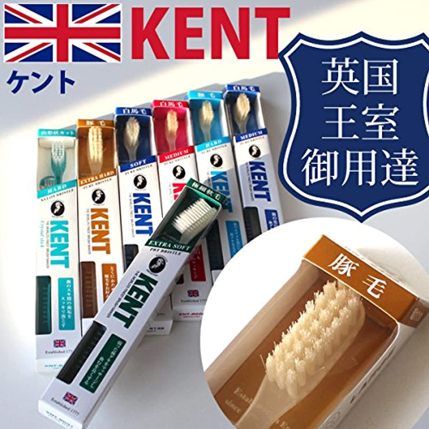 一般ハンマー遺体安置所ケント KENT 豚毛 ラージヘッド 歯ブラシKNT-9433 超かため 6本入り しっかり磨ける天然毛のラジヘ