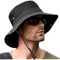 サファリハット メンズ【メッシュ通気構造 折りたたみ UVカット】帽子 プレゼント つば広 日焼け 速乾性 軽量 防風…