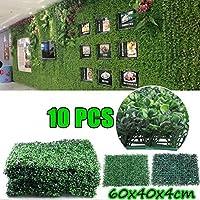 10PCS人工ガーデンヘッジスクリーン植物ウォールフェイクパネルの背景の装飾