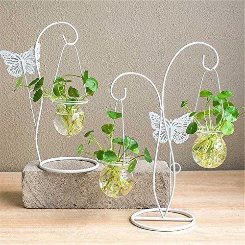 創造的なヨーロッパスタイルの小さな緑の新鮮な水の植物の文化のガラスの瓶の鉄の装飾品の花瓶のフラワーアレンジメントの容器の花の装飾 ( Color : White )