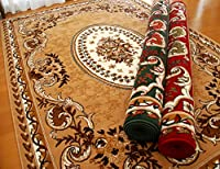 ベルギー製 ラグ カーペット 四畳半 240×240 SHIRAZ アンティーク 花柄 クラシック ウィルトン織 じゅうたん 床暖房 ホットカーペットカバー対応 (グリーン, 約240×240)