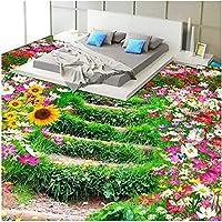 Xbwy 牧歌的な壁の壁画注文の床の壁紙寝室のビニールの摩耗のための3D花そして草の写真の壁紙-250X175Cm