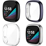 NANW 4-Pack Screen Protector Case Compatible with Fitbit Sense/Versa 3, TPU Rugged Bumper Case Cover All-Around Protective Pl
