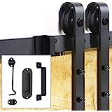 Signstek Sliding Barn Door Hardware 6.6 FT Heavy Duty with Door Hook and 2 Handles - J Shape Hanger