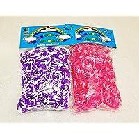 [Artasy ™][並行輸入品] DIY 4段 X 8段カラーゴムバンドブレスレット (パープル x ホワイト + ピンク x 透明) Loom Bands refill Pack - (600 + 600 pcs) rubber ring Color: purple X white + pink X transparent