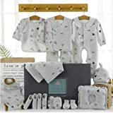 Baby Gift Set - 18 Pieces, 100% Cotton, Romper, Bodysuit, Pillow, Cap, Bib, Mittens, Booties and More, Boys 0-6 Months (Green