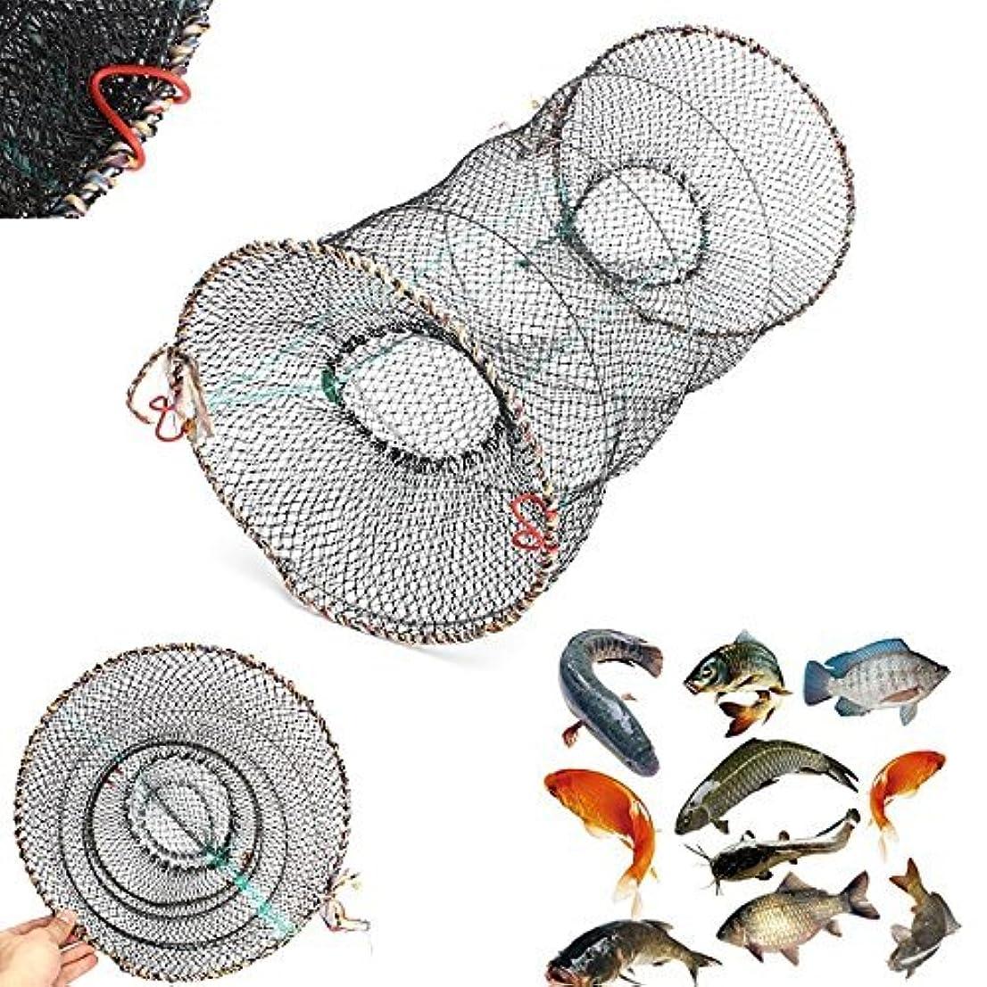 コーラス確率アンティークTeanfa カニ仕掛け網 ザリガニ ロブスター エビ 折り畳み式網かご 投網 釣り用網かご 1個