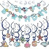 Konsait 誕生日デコレーション パーティー用品 女の子と男の子用 ハッピーバースデーバナー 30個 海洋パーティー トロピカルフィッシュ 吊り下げ 渦巻き デコレーション ガーランド 子供 誕生日パーティー デコレーション 記念品