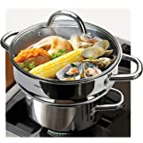 """HOMI CHEF 5QT LARGE 4.5"""" DEEP 3-RIDGE Universal Steamer Cookware (Nickel Free Stainless Steel, 3 Ridges for 8""""/ 9""""/ 9.5"""" Pot)"""