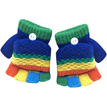 Tonsee キッズ 手袋 子供用 可愛い グローブ 半指 女の子 男の子 ミトン 保温 防寒 冬用 通学 お出かけ用 (ダークブルー)