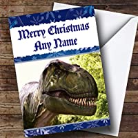 Scary T Rex Dinosaur Personalized Christmas Holiday Greetingsカード