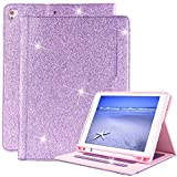 iPad 9.7 2018/2017 Case with Pencil Holder, Glitter Bling Leather TPU [Free Stylus Pen] Stand Wallet with Auto Sleep/Wake for Apple iPad 9.7 2018/2017 / Pro 9.7 / Air 2 / Air