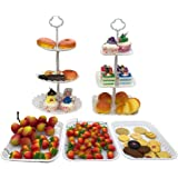 FEOOWV 2pcs 3-Tier Round +Square Cake Stand Party Food Server Display Stand with 3pcs Rectangle Plastic Serving Trays for Wed