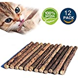 Matatabi Cat Catnip Sticks 12pcs Cat Chew Sticks Dental Cleaning for Cats 100% Organic Silver Vine Dental Treats Molar Chew Toy Olfactory Enrichment