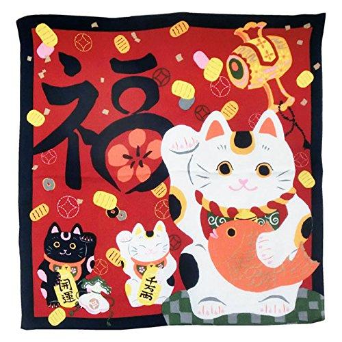 お祝い用 縮緬風呂敷(福招き猫) お米5kg袋サイズに対応し...