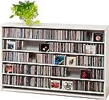 695枚収納 CD屋さんのCD/DVDラック 幅139.2cm インデックスプレート20枚付き (ホワイト W)