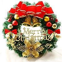 クリスマスリース 手作り キット おしゃれ 玄関 飾り 造花 リボン 鈴 豪華 キラキラ リボン付き30cm