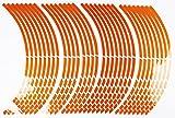 HIROMARUjp 反射 リムステッカー 17 18 インチ 8mm バイク2台分 4車輪分 切れ目 オレンジ