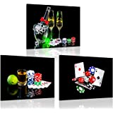 iKNOW FOTO 3 Piece Canvas Art Wall Decor Bottle of Champagne with Wineglasses and Poker Cards with Chips Posters and Prints M