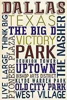 ダラス、テキサス–Typography 16 x 24 Giclee Print LANT-72412-16x24