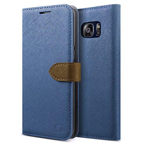 GALAXY S7 Edge レザーケース Lific Saffiano Diary ブック タイプ 手帳型 PU レザー ケース スタンド機能付 for Samsung GALAXY S7 Edge SC-02H SCV33 ダークブルー 【国内正規品】 国内正規品証明書 付