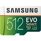 SAMSUNG EVO Select 512GB microSDXC UHS-I U3 100MB/s Full HD & 4K UHD Memory Card with Adapter (MB-ME512HA)