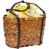 (キョウエツ) KYOETSU かわいい竹かご巾着バッグ 浴衣 和柄 レトロ kg-06 (かご-茶×黄系)