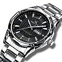 メガリス MEGALITH腕時計 メンズ時計ステンレス防水 アナログクオーツ腕時計 曜日付け 日付表示ラグジュアリーおしゃれウオッチ ビジネス カジュアル メタル男性腕時計 シルバー